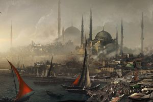 fantasy art city istanbul turkey artwork