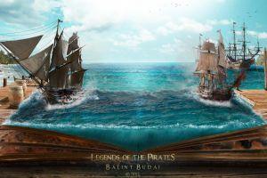 fantasy art coast battle island ports pirates sea magic books