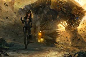 fantasy art concept art women mech robot destruction bodysuit