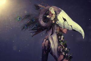 fantasy art fantasy girl flowers skull women model
