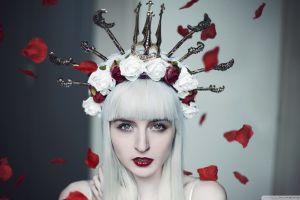 fantasy art fantasy girl white red lipstick women rose crown model flowers