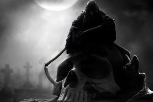 fantasy art grim reaper skull monochrome death