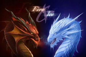 fantasy art ice artwork fire dragon