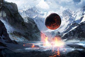 fantasy art mountains planet sphere artwork snow lava