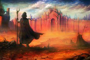 fantasy art pilgrims sky fantasy city staff desert drawing artwork