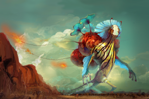fantasy art princess mononoke artwork