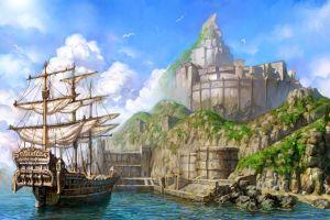 fantasy art sailing ship ship artwork