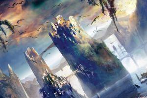fantasy art sky artwork fantasy city