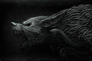 fantasy art snake wolf creature