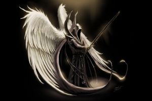 fantasy art sword wings angel