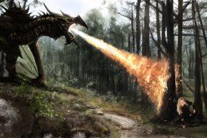 fantasy art the elder scrolls v: skyrim video games dragon