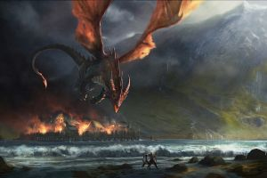 fantasy art the hobbit: the desolation of smaug smaug sea j. r. r. tolkien the lord of the rings creature digital art town dragon fire movies the hobbit