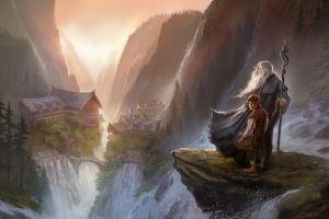 fantasy art the lord of the rings digital art bilbo baggins rivendell gandalf the hobbit