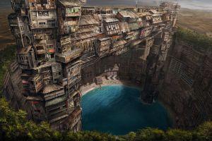 fantasy art underground utopia artwork pond building cityscape city