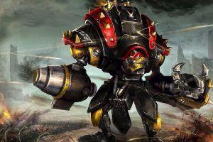 fantasy art war mech robot warmachine artwork destruction concept art