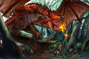 fantasy art warrior monster hunter rathalos video games dragon