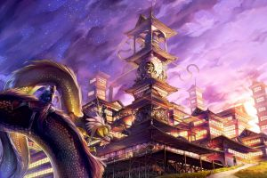 fantasy city dragon fantasy art