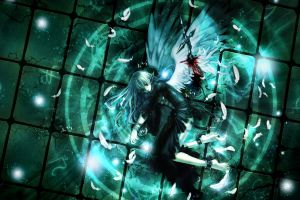 fantasy girl chains wings anime girls angel feathers blood anime