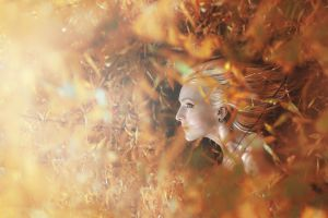 fantasy girl eyeliner looking up leaves women profile blonde depth of field face women outdoors