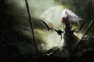fantasy girl fantasy art bow digital art white hair archer