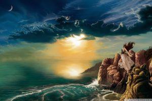fantasy girl fantasy art sea