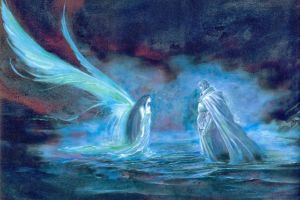 fantasy girl wings pastel fantasy art cape water