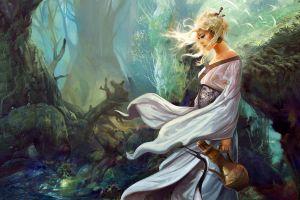 fantasy girl women fantasy art digital art forest water nature artwork