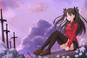 fate/stay night anime girls thigh-highs anime fate series tohsaka rin