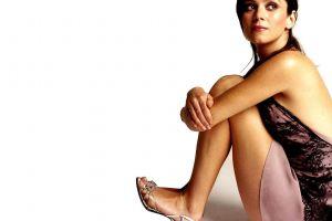 feet brunette dress white background women anna friel hazel eyes