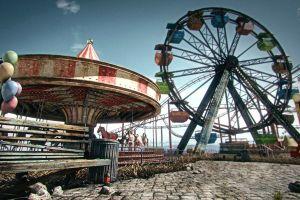 ferris wheel balloon outdoors ruin carnivals