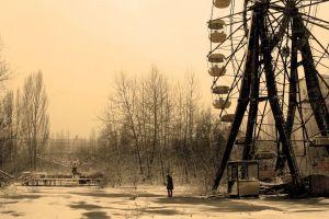 ferris wheel trees pripyat winter nature chernobyl ghost town snow abandoned