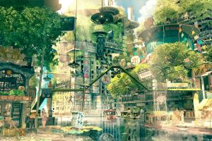 fictional nature japan anime utopia city imperial boy cityscape drawing