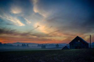 field barn mist nature clouds sky dirt landscape
