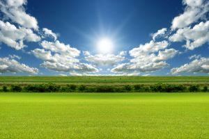 field landscape sky nature sun clouds
