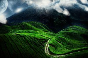 field path mist landscape vietnam digital art planet clouds moon nature space