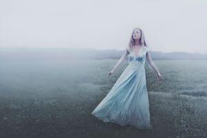 field women closed eyes mist fantasy girl model women outdoors dress