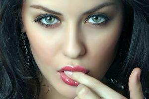 finger in mouth makeup model finger on lips women black hair portrait face