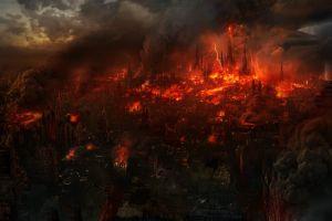 fire apocalyptic city cityscape
