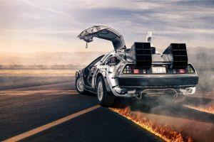 fire back to the future movies supercars car vehicle smoke time machine digital art delorean