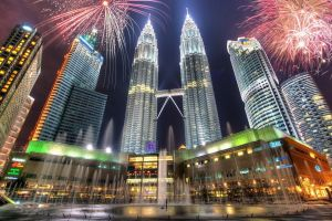 fireworks building digital lighting cityscape city malaysia lights hdr petronas towers kuala lumpur