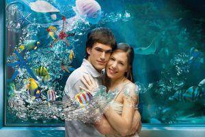 fish men couple aquarium digital art women