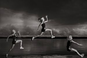 fitness model women jumping sports sepia
