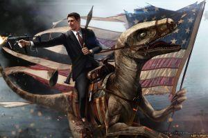 flag digital art humor ronald reagan gun dinosaurs