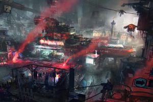 flares dystopian cyberpunk cyber city asia
