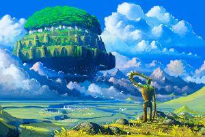 floating island castle in the sky anime robot studio ghibli