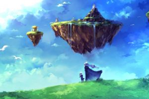 floating island sky fantasy art nature anime chrono trigger video games landscape