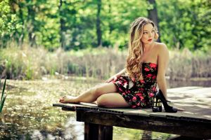 floral curly hair pier bare shoulders dress barefoot blonde women outdoors