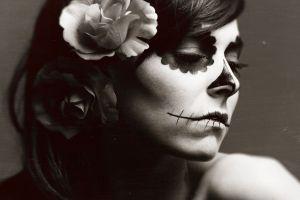 flower in hair model sepia face hannah ray sugar skull dia de los muertos women
