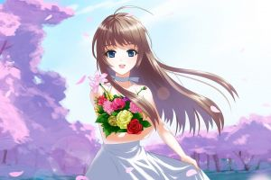 flowers blue eyes anime brunette anime girls long hair manga