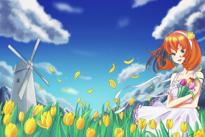flowers clouds anime drawing anime girls